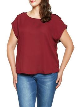 Plus Size Tabbed Shoulder Blouse - 3803051068763