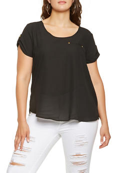 Plus Size Tabbed Sleeve Top - 3803051069114