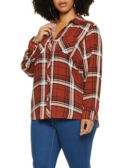 Plus Size Button Front Plaid Top - 3803051069695