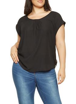 Plus Size Short Sleeve Zip Trim Top - 3803051069965