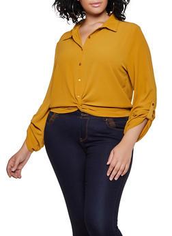 Plus Size Twist Button Front Blouse - 3803054261340
