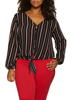 Plus Size Striped Button Tie Front Top - 3803054261636