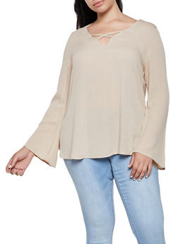 Plus Size Gauze Knit Lace Detail Top - 3803054268542