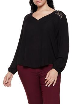 Plus Size Lace Detail Top - 3803054268691