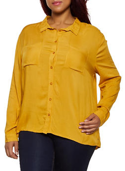 Plus Size Lightweight Button Front Top - 3803054268822