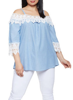 Plus Size Chambray Off the Shoulder Top - 3803056120243