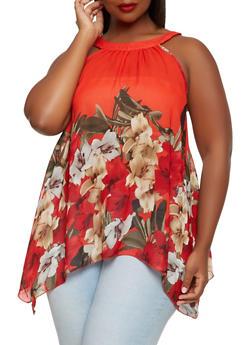 Plus Size Floral Sharkbite Hem Top - 3803056120657