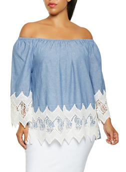 Plus Size Off the Shoulder Chambray Top - 3803056122568