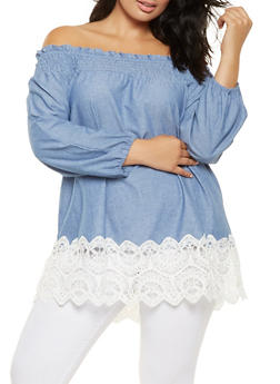 Plus Size Off the Shoulder Crochet Trim Top - 3803056122569
