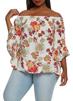 Plus Size Floral Smocked Off the Shoulder Top - 3803056122672