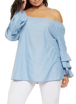 Plus Size Off the Shoulder Tiered Sleeve Top - 3803056124028