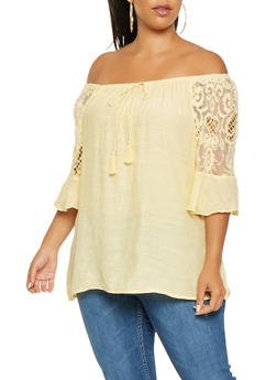 Plus Size Embroidered Off the Shoulder Top - 3803056124260