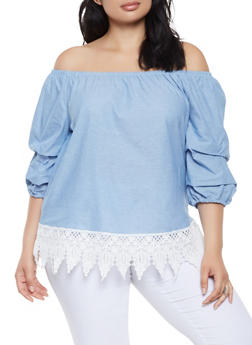 Plus Size Chambray Off the Shoulder Top - 3803056124267