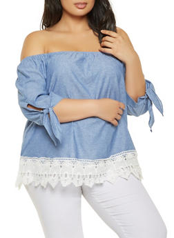 Plus Size Off the Shoulder Chambray Top - 3803056124269
