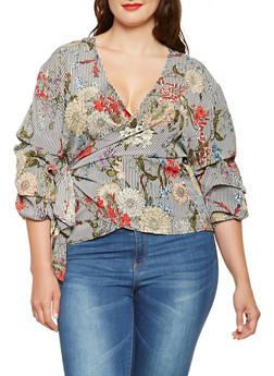 Plus Size Floral Striped Wrap Top - 3803056124273