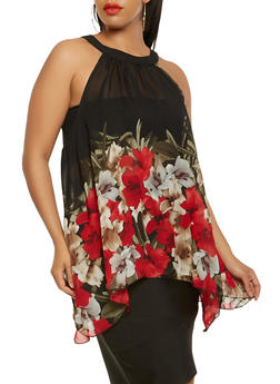 Plus Size Floral Sharkbite Hem Top - 3803056124284