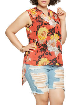 Plus Size Sheer Floral High Low Top - 3803056124288
