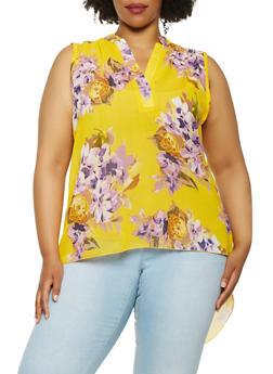 Plus Size Floral Split Back Top - 3803056124838