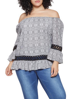 Plus Size Off the Shoulder Plaid Top - 3803056124981