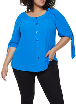 Plus Size Tie Sleeve Button Blouse - 3803056125243