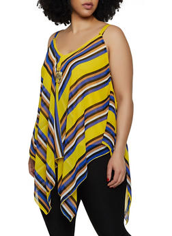 Plus Size Asymmetrical Striped Top with Necklace - 3803056125281