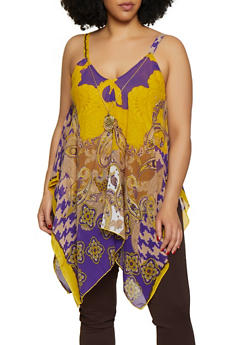 Plus Size Paisley Print Asymmetrical Top with Necklace - 3803056125282