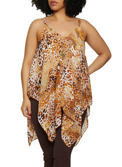Plus Size Leopard Asymmetrical Top with Necklace - 3803056125283