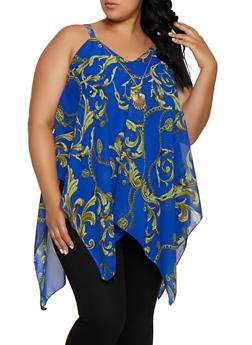 Plus Size Sleeveless Chain Print Asymmetrical Top - 3803056125284