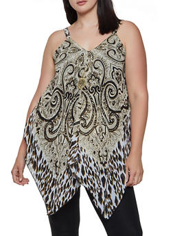Plus Size Mixed Print Sleeveless Top with Necklace - 3803056125285