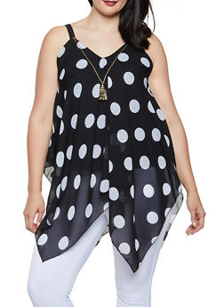 Plus Size Polka Dot Sharkbite Top with Necklace - Black - Size 1X - 3803056125286