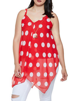 Plus Size Polka Dot Sharkbite Top with Necklace - 3803056125286