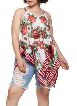 Plus Size Floral Border Print Asymmetrical Top - 3803056126669
