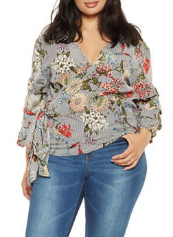 Plus Size Striped Floral Wrap Top - 3803056127267