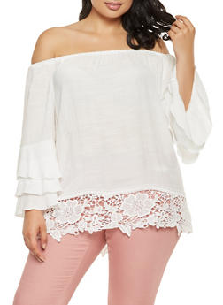 Plus Size Off the Shoulder Tiered Sleeve Top - 3803056128002