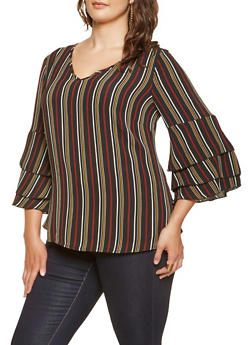 Plus Size Tiered Bell Sleeve Blouse - 3803056128005