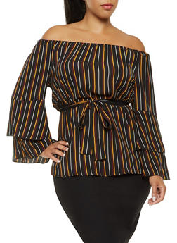 Plus Size Striped Off the Shoulder Top - 3803056128007