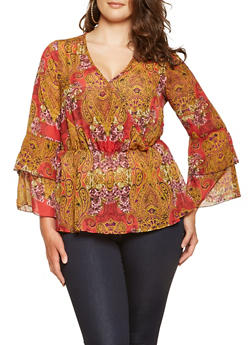 Plus Size Paisley Bell Sleeve Blouse - 3803056128010
