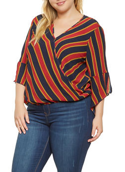 Plus Size Striped Faux Wrap Top - 3803056128038