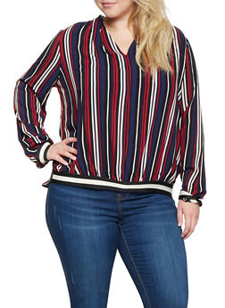 Plus Size Striped High Low Top - 3803056128039