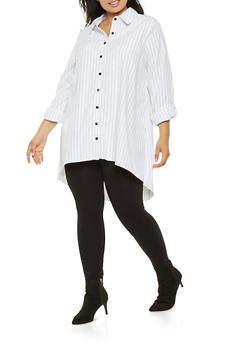 Plus Size Striped Button Front Shirt - 3803056128046