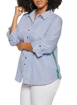 Plus Size Striped Button Front Shirt - 3803056128048