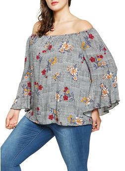 Plus Size Plaid Floral Off the Shoulder Top - 3803056128101