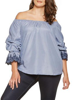 Plus Size Striped Off the Shoulder Top - 3803056128102
