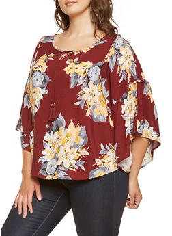 Plus Size Floral Bell Sleeve Top - 3803056128104
