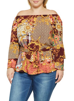 Plus Size Printed Off the Shoulder Top - 3803056128108