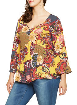 Plus Size Printed Bell Sleeve Top - 3803056128111