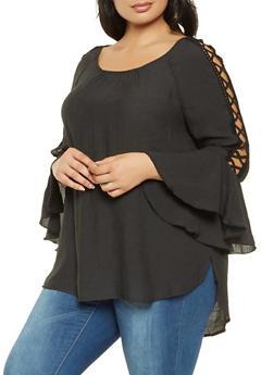 Plus Size Caged Crochet Trim Top - 3803056129800