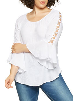 Plus Size Caged Crochet Trim Top - 3803056129800