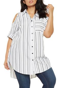 Plus Size Striped Lace Up Cold Shoulder Top - 3803056129801