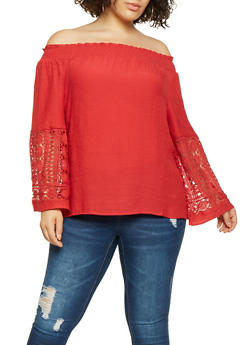 Plus Size Off the Shoulder Crochet Sleeve Top - 3803056129810